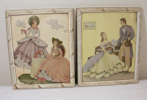 Vintage Pair Colonial Couple Southern Belle Prints