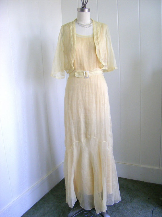 1930's VIntage Organza Yellow Belted Dress with Jacket