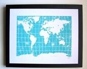 PRINT - world map - light blue linocut 8X10 letterpress poster