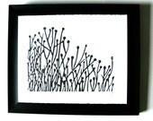 LINOCUT PRINT - Flowers BLACK block print letterpress poster 8x10