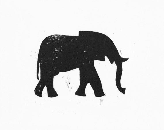 PRINT - elephant BLACK LINOCUT silhouette 8x10 minimal lettterpress poster
