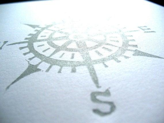 Silver compass linoleum block print - Cardinal directions LINOCUT 8x10 letterpress poster