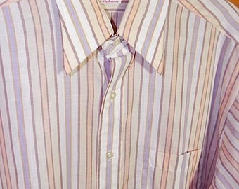 Vintage Shirt Mens 60s Dead Stock Mod Stripe Shirt Rare L XL - on sale