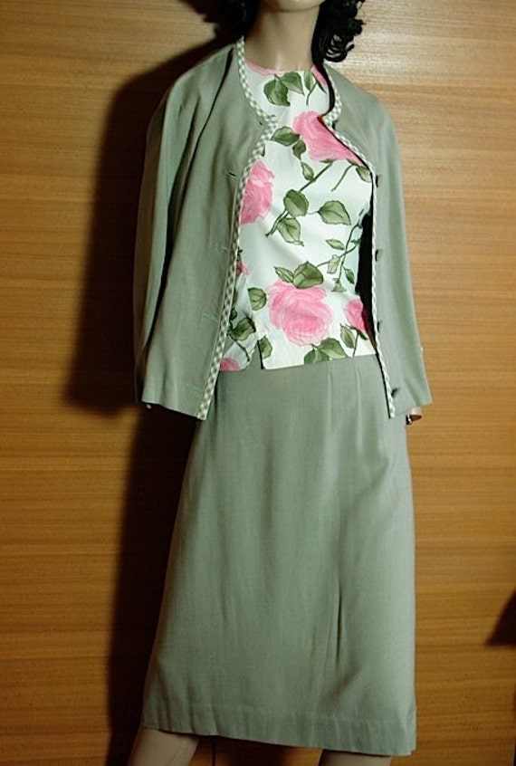 reserved 1950s Sage Green Pencil Skirt and Jacket with Gingham Trim M -on sale-