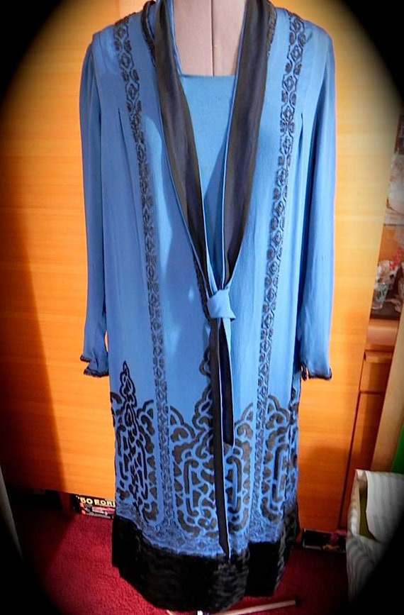 Beautiful Vintage 1910s 20s Blue Silk Party Dress with Nouveau Design Glass Beads Fur and Embroidery M L