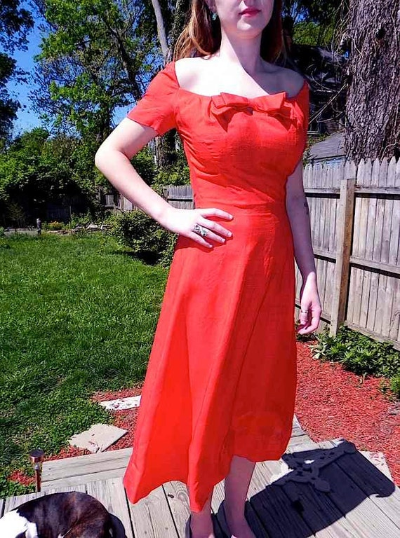 Vintage Dress 50s Red SILK Party Dress with Scooped Neckline sm - on sale