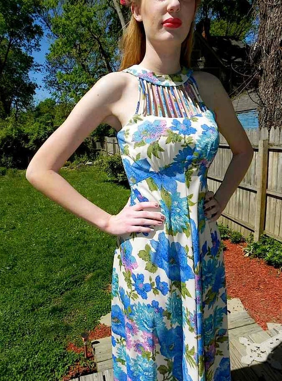 Fantastic 60s Blue Floral Vintage String Halter Evening Dress -on sale-