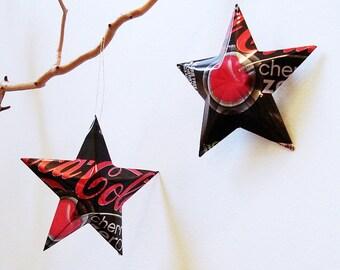 Coke Cherry Zero Stars Gift Topper Ornaments Soda Can Upcycled Coca Cola