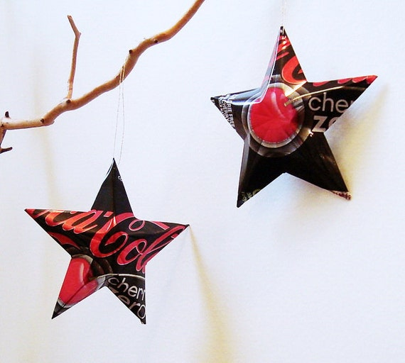 Coke Cherry Zero Stars Gift Topper Ornaments Soda Can Upcycled Coca Cola