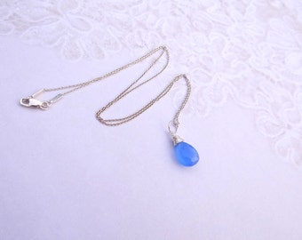 Soft Periwinkle Blue Chalcedony Necklace on Sterling Silver Chain