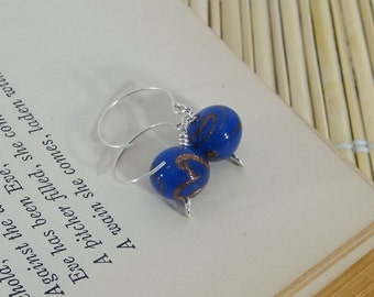 Blue and Gold Glass Lampwork Earrings