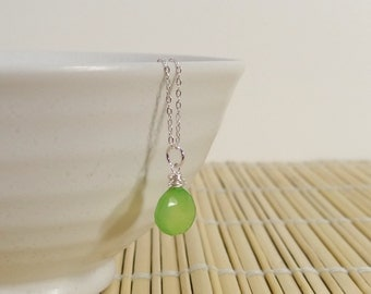 Granny Smith Apple Green Chalcedony Necklace with Sterling Silver Chain