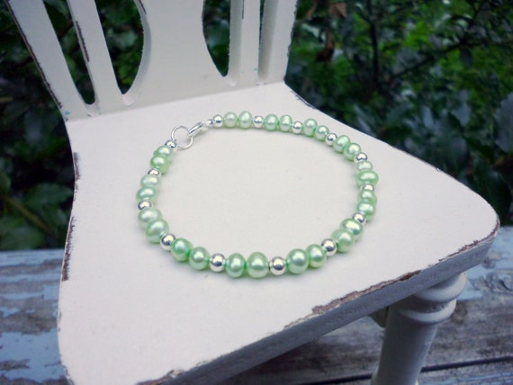 Green Pearl Bracelet Mint Pearls with Silver Beads