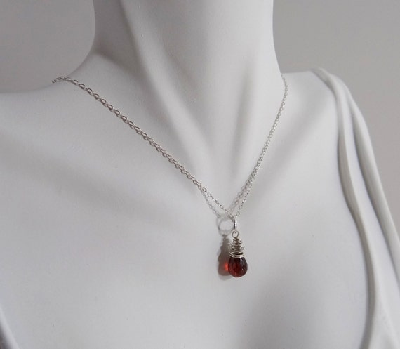 Red Garnet Necklace, Red Teardrop Garnet on Sterling Silver