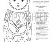 PDF Embroidery Pattern 10-Matryoshka Doll 10/ Daisy