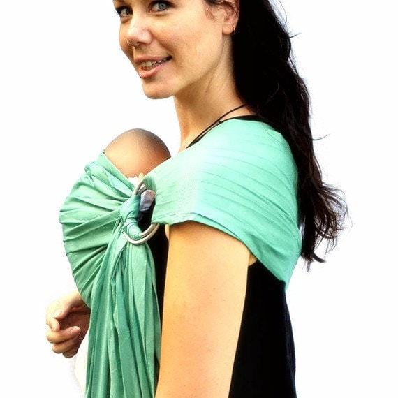 Baby Sling Carrier Ring Sling Seafoam Green Baby Basics extra SuperWide - Standard or Petite length only - Ready to Ship in Standard