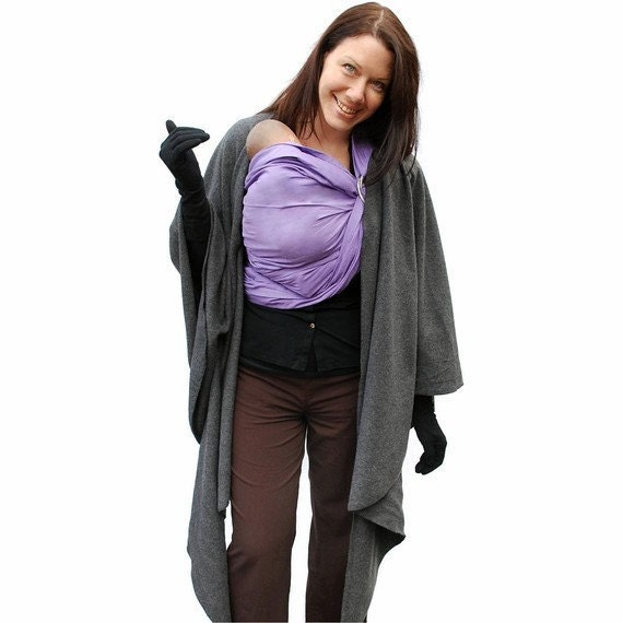 Fleece Poncho Maternity Coat Babywearing Jacket Wrap around in Charcoal Gray - MADE TO ORDER
