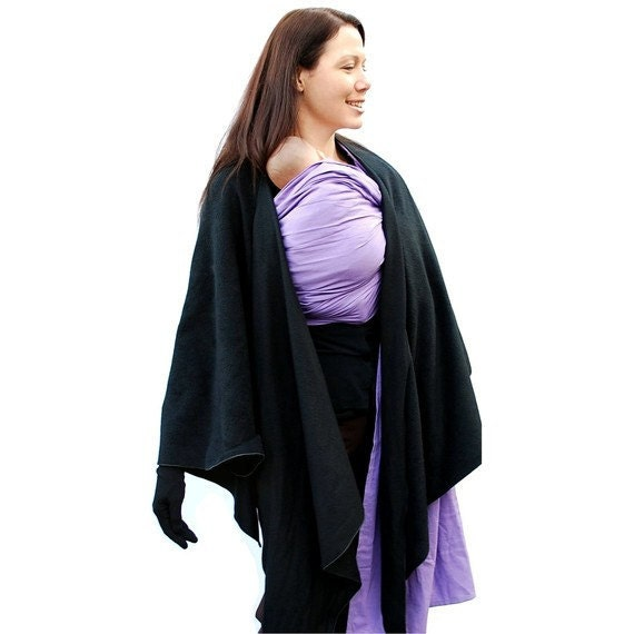 Maternity Coat Fleece Poncho Baby Wearing Wrapping Jacket in Black - several colors in shop - MADE TO ORDER