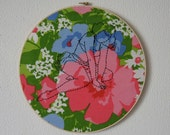 Dot -- embroidery, original art, pinup art, pin-up, kitsch, feminist, erotica, hand-stitched, framed, round, floral -- 100 Ladies #094