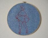 Nancy -- pinup art, embroidery, original art, pin-up, kitsch, feminist, erotica, framed, round, blue -- 100 Ladies #040