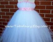 White Tutu Dress *** Pink Bow Tie Sash ***