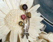 Garnet and Peridot Bouquet Brooch