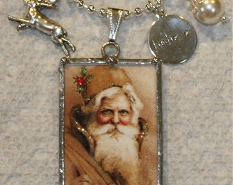 Golden Victorian Santa and Red Caped Girl with Tree Reversible Vintage Postcard Necklace