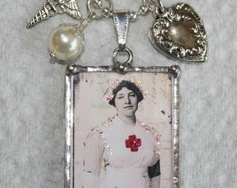 """Vintage Photo WWI Nurse """"Can't Scare Me"""" Charm Necklace"""