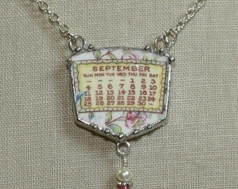 September 1921 Calendar Plate Broken China Jewelry Necklace with Month and Flowers
