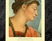 Michelangelo Vintage Postcard, Sistine Chapel, From A Classic Art Fresco Crackle Design, Sybil Eritrea, Rome