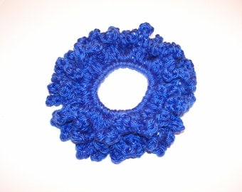 Blue Hair Scrunchie / Bright Royal Blue Hair Accessory / Blue Sparkle Scrunchie / Crocheted Pony Tail Holder / Free Shipping / Ready to Ship