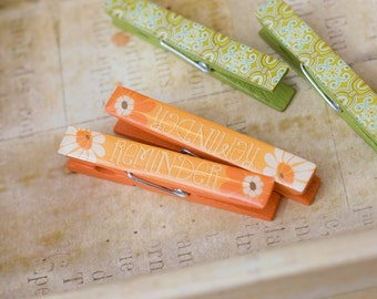 Green and Orange Flowers and Paisley Decorative Wooden Clothespins - Set of 4