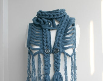 Blue Wool  Scarf  Valentines Day Gift under75 For Women For Mothers