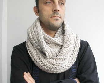 Infinity Loop Scarf Beige  For Man for women  and for For My Dad under60 Fathers Day Gift
