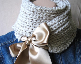 Hand-Knitted Beige Scarf /handmade special wool collar / oversized medium Scarf with Satin Ribbon/ gift For Women Girl Christmas gift