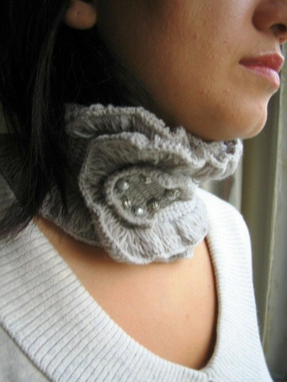Grey knit Neckwarmer, Collar, handmade Scarf, gift for women, Christmas Gift Under50  for Her for Mom for Your Lady Gift Under 50