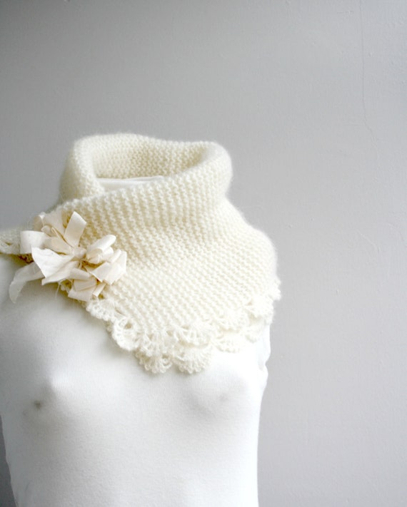 Angora Wool Ivory Neckwarmer Collar Scarf  Cowl With Silk Bow gift for Her For Bridal Mothers day Gift