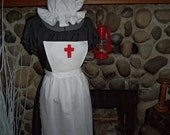Ready to Ship Clara Barton Historial Theme Colonial Dress Costume Civil War Pioneer Prairie -Girls Sizes Apron and Mop Hat
