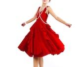 Red linen dress prom dress midi dress ruffled dress (MM05)
