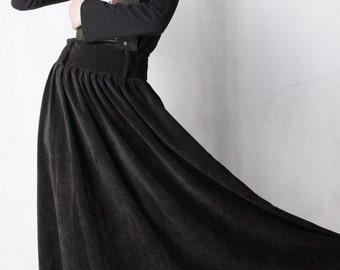 Black Corduroy skirt - long maxi skirt - classic A line skirt with high waist design and pleated detail - pleated skirt - Custom made (MM35)