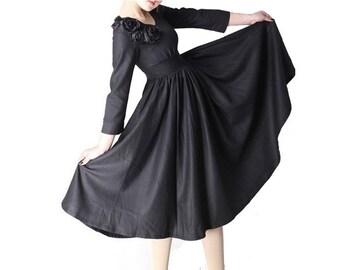 bridesmaid dress, Black Dress , Linen dress, maxi dress ,fit and flare dress, empire waist dress , made to order, wedding guest dress MM06