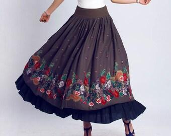 Maxi skirt - Linen skirt -  floral print skirt - long skirt - ethnic skirt with fitted waist and double tiered drape - spring skirt  (117)