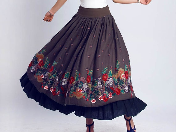 Maxi skirt, Linen skirt, floral print skirt,floral skirt, long skirt, ethnic skirt,tiered skirt,fall skirt, womens skirts, Fall clothing 117