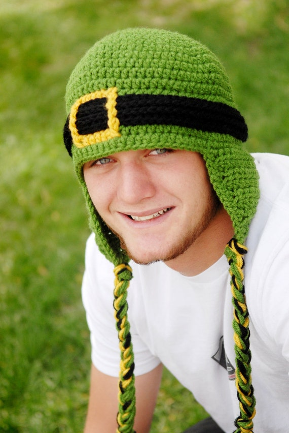 Leprechaun Beanie with Earflaps - Adults Crochet Hat
