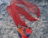 Ladies Heart Shaped Red Purple Polymer Clay Pendant on Organza Ribbon