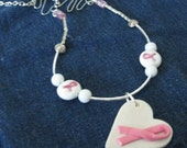 Pink Ribbon Breast Cancer Awareness Necklace Polymer Clay and Glass Beads Pink, Silver and White