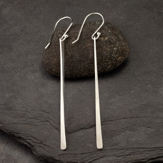 Long Sterling Silver Earrings- Modern Silver Bar Earrings- Long Bar Earrings- Silver Stick Dangle Earrings