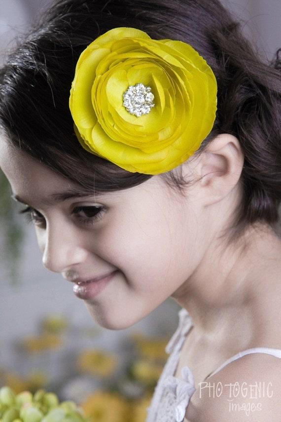 Couture Lime Green Silk Flower Clip, Weddings, Flower Girl, Bridesmaid, Baby Headband, Infant Headband, Newborn Headband, Baby & Toddler
