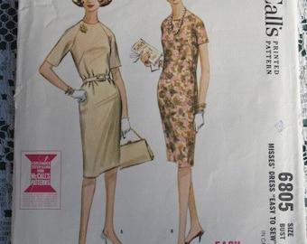 1963 Elegant Slim Shift Dress Pattern McCalls 6805 Bust 38