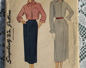 Late 1940s Skirt Cropped Jacket Suit Pattern Simplicity 3087 Size 12 Bust 30